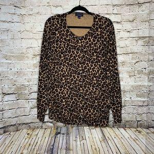 Lands' End leopard cardigan